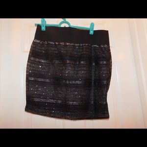 Black and silver embellished pencil skirt